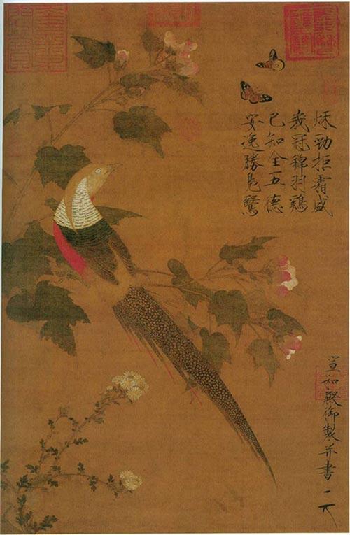 《锦春图》·清·郎世宁【意大利】-中外画家笔下的鸡 关于鸡的不同